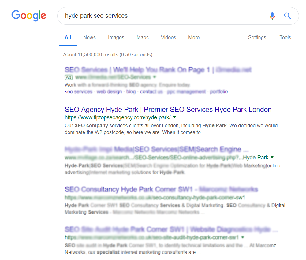 a search engine results page for hyde park seo services