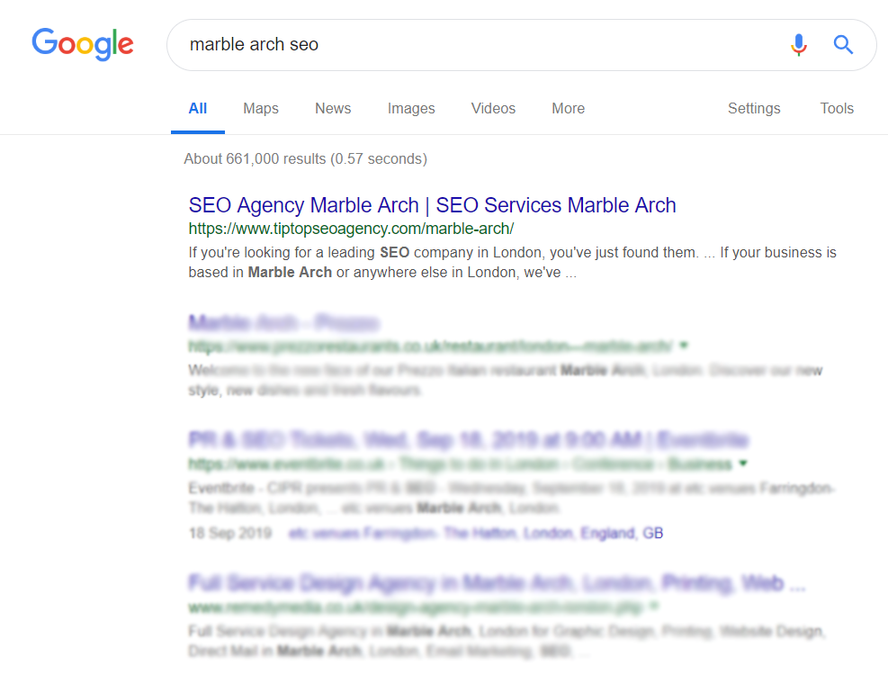 a search engine results page for the keyword marble arch seo