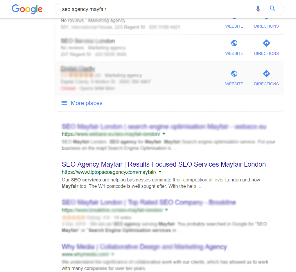 seo agency mayfair london search engines results page