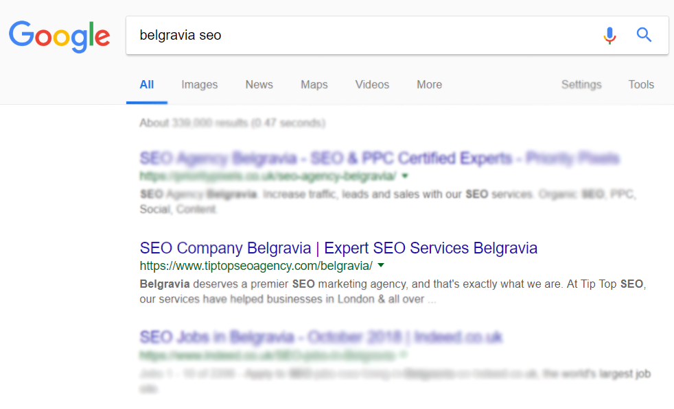 A Google search engine results page with old website ranking for Belgravia SEO