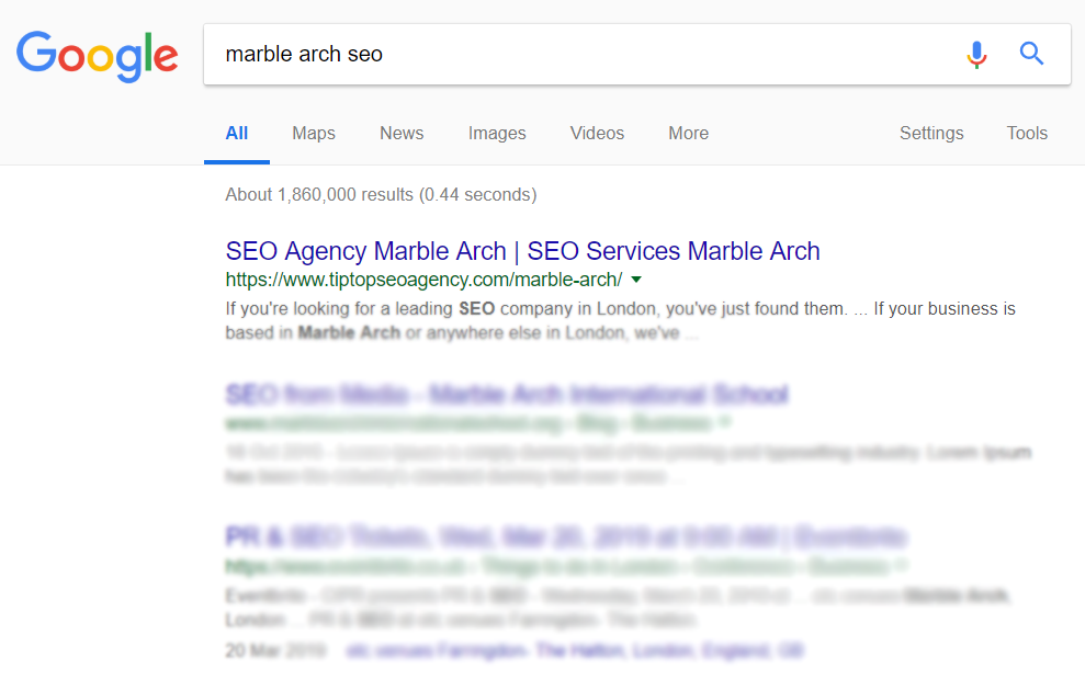 a Google search engine results page with organic ranking for marble arch seo