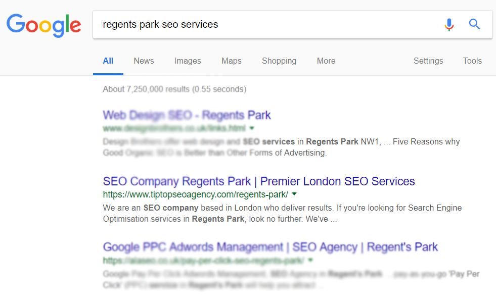 a search engine results page showcasing proof of rankings for regents park seo